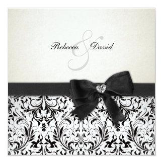 Elegant Black and Ivory Damask with diamond bow 13 Cm X 13 Cm Square Invitation Card