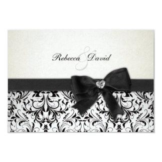 Elegant Black and Ivory Damask with diamond RSVP 9 Cm X 13 Cm Invitation Card