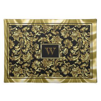 Elegant Black And Metallic Gold Damasks Place Mat
