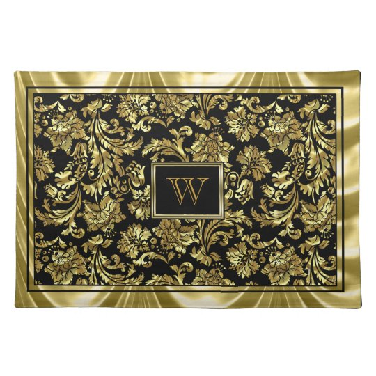 Elegant Black And Metallic Gold Damasks Placemat