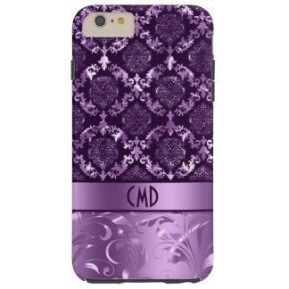 Elegant Black And Metallic Purple Damasks & Lace Tough iPhone 6 Plus Case