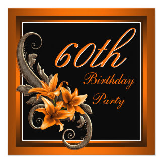 Elegant Black and Orange Tiger Lily Birthday Party Card