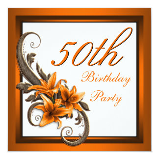 Elegant Black and Orange Tiger Lily Birthday Party Custom Announcement