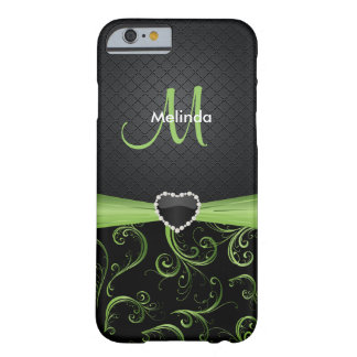 Elegant Black and Peridot Green Floral Pattern Barely There iPhone 6 Case
