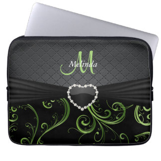 Elegant Black and Peridot Green Floral Pattern Computer Sleeve