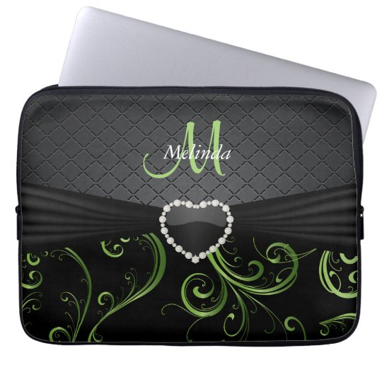 Elegant Black and Peridot Green Floral Pattern Laptop