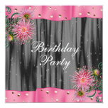 Elegant Black And Pink Dahlia Birthday Party Personalised Announcements