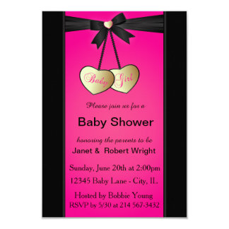 Elegant Black and Pink Damask | Baby Shower 9 Cm X 13 Cm Invitation Card