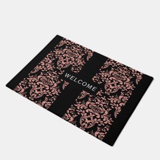 Elegant Black And Pink Damask Design Doormat
