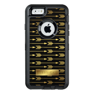 Elegant Black and Printed Gold Arrows Pattern OtterBox iPhone 6/6s Case