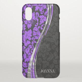 Elegant Black And Purple Damasks iPhone X Case