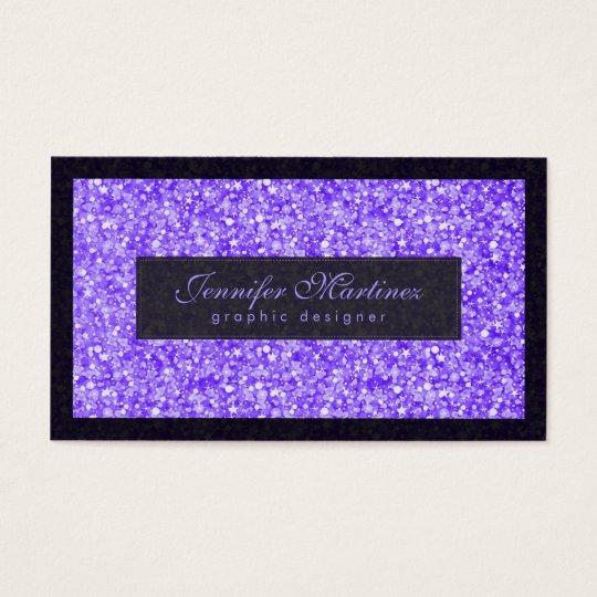 Elegant Black And Purple Glitter & Sparkles Business