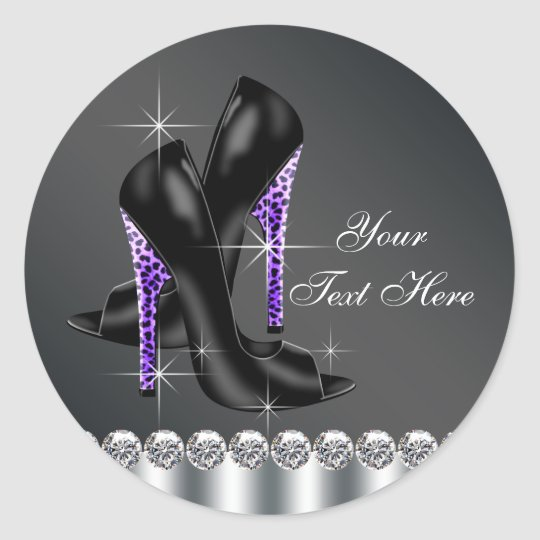 Elegant Black and Purple High Heel Shoe Stickers