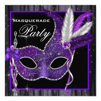 Elegant Black and Purple Masquerade Party 13 Cm X 13 Cm Square Invitation Card