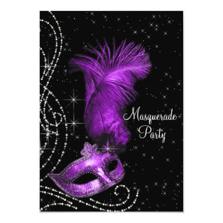 Elegant Black and Purple Masquerade Party Card
