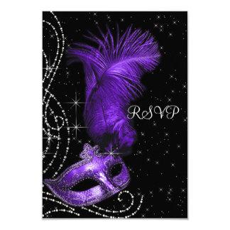 Elegant Black and Purple Masquerade Party RSVP 9 Cm X 13 Cm Invitation Card