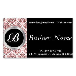 Elegant Black and Red Damask Magnetic Business Cards