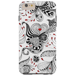 Elegant Black And Red Hearts & Floral Swirls Tough iPhone 6 Plus Case