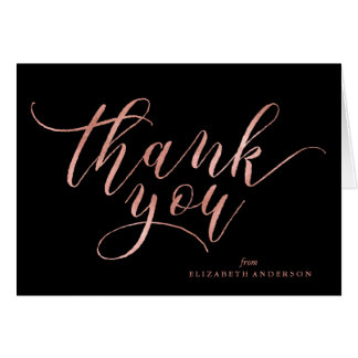 Elegant Black and Rose Gold Script Thank You Card