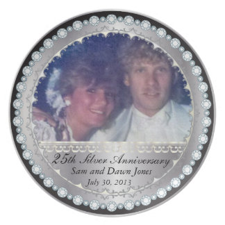 Elegant Black and Silver 25th Silver Anniversary Party Plate