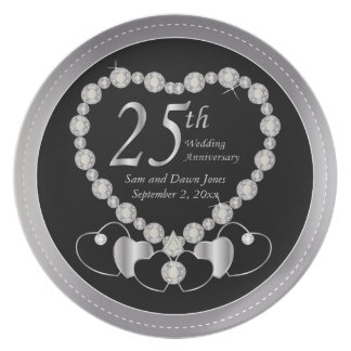 Elegant Black and Silver 25th Silver Anniversary Plate