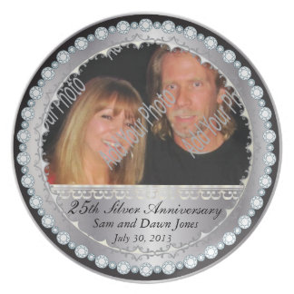 Elegant Black and Silver 25th Silver Anniversary Plates