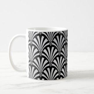 Elegant Black and Silver Art Deco Coffee Mugs
