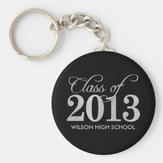 Elegant Black and Silver Class of 2013 key-chains Basic Round Button Key Ring