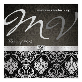 Elegant Black and Silver Class of 2014 Graduation Card