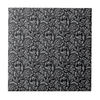 Elegant Black and Silver Damask Floral Pattern Small Square Tile