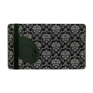 Elegant Black and Silver Damask iPad Case