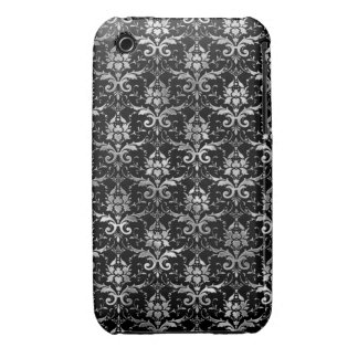 Elegant Black and Silver Damask Pattern iPhone 3 Case-Mate Cases