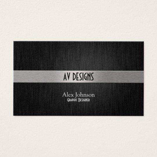 Elegant Black and Silver Graphic Designer Business Card