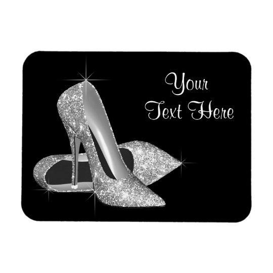 Elegant Black and Silver High Heel Shoe Magnets