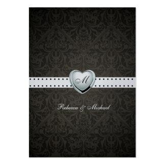 Elegant Black and Silver Monogram RSVP Cards Business Card Template