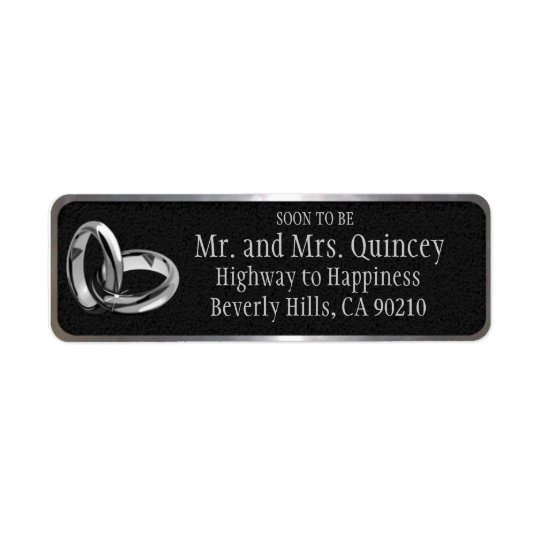 Elegant Black and Silver Wedding Return Address Label