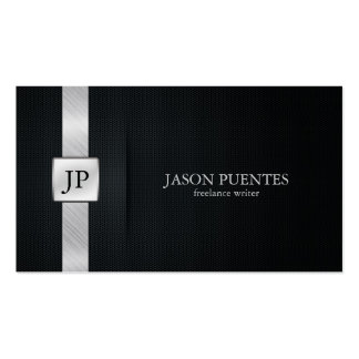 Elegant Black and Silver Writer's Business Cards