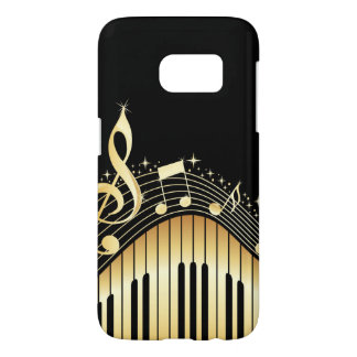 Elegant Black And Sparkly Gold Music Notes Design