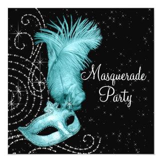 Elegant Black and Teal Blue Masquerade Party 13 Cm X 13 Cm Square Invitation Card