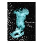 Elegant Black and Teal Blue Masquerade Party Invitation