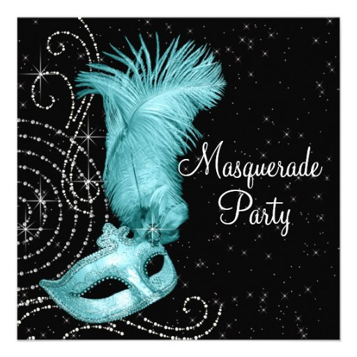 Elegant Black and Teal Blue Masquerade Party Announcement