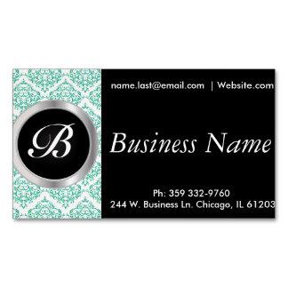 Elegant Black and Teal Damask Magnetic Business Cards