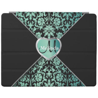 Elegant Black and Teal Damask Pattern iPad Cover