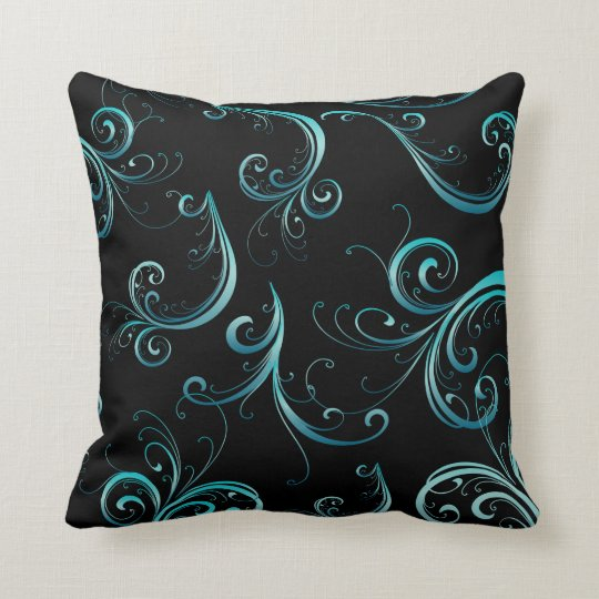 Elegant Black and Turquoise Floral Pattern Cushion