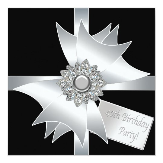 Elegant Black and White 40th Birthday Party Card