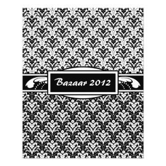 Elegant Black and White Art Deco Floral Damask 11.5 Cm X 14 Cm Flyer