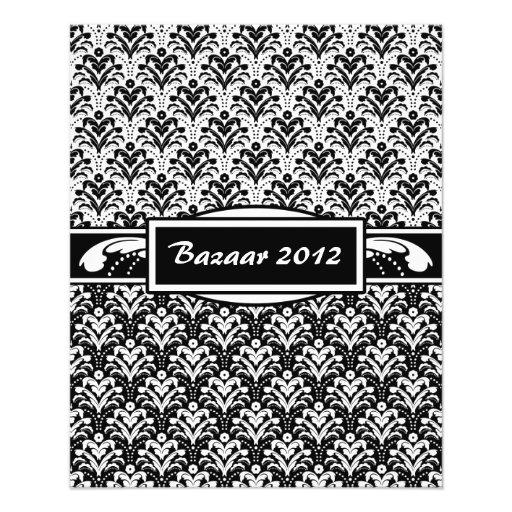 Elegant Black and White Art Deco Floral Damask Flyer