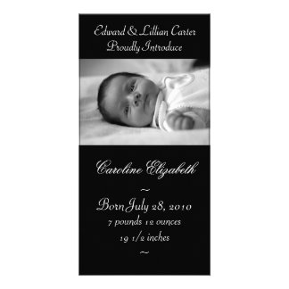 Elegant Black and White Baby Birth Annoucement Photo Cards