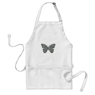 Elegant Black And White Butterfly Aprons
