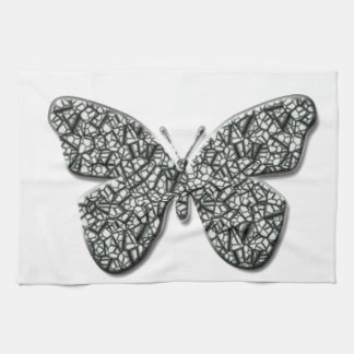 Elegant Black And White  Butterfly Tea Towel